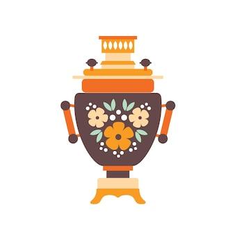 사모바르 평면 벡터 일러스트 레이 션. 흰색 배경에 격리된 다채로운 소박한 그림이 있는 러시아 전통 기호입니다. 가열을 위한 가열된 금속 용기와 물을 끓여서 차를 마십니다.