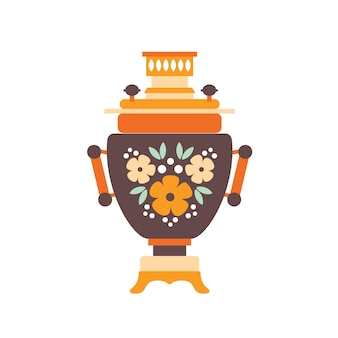 Samovar flat vector illustration. russian traditional symbol with colorful rustic drawing isolated on white background. heated metal container for heat and boil water and drink tea.