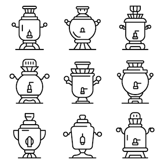 Samovar icons set, outline style