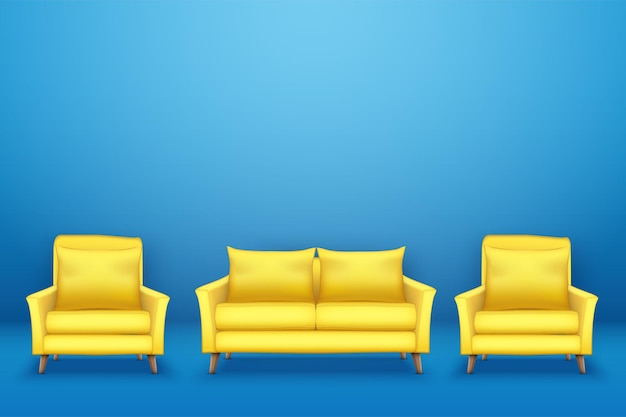 青い壁に椅子が付いたモダンな黄色のソファのサンプルインテリアシーン。