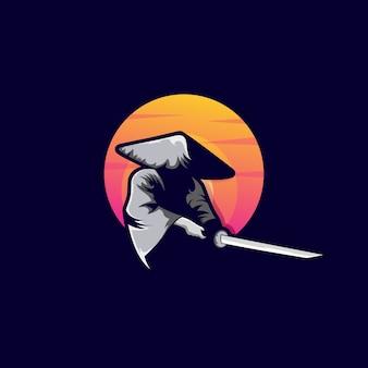 Samurai against the sun illustration