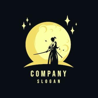 Самурай и луна логотип