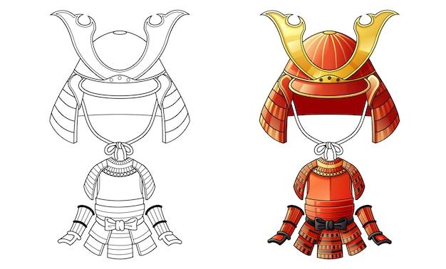 子供のための武士の鎧の漫画の着色のページ