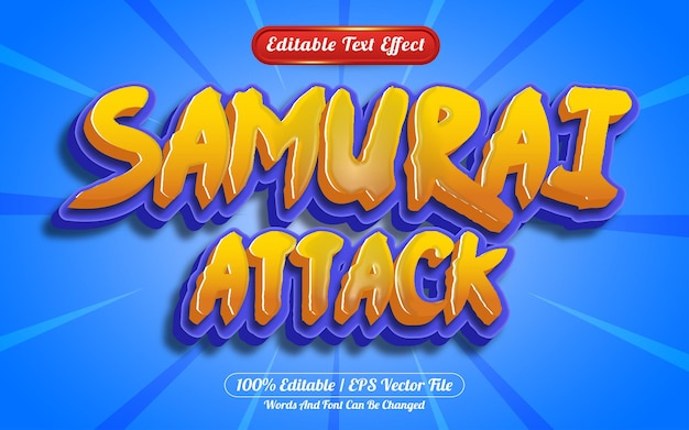 Самурай атакует 3d редактируемый текстовый эффект мультяшный или игровой стиль