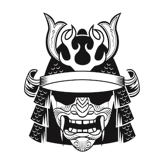 Samurai in black mask. japan traditional fighter. vintage isolated vector illustration