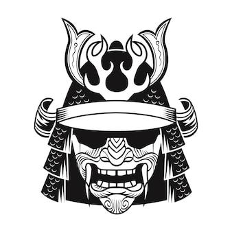 Samurai in maschera nera. combattente tradizionale del giappone. illustrazione vettoriale isolato vintage