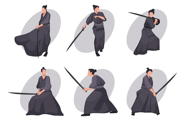 Samurai cartoon character set. japanese knight, warrior in black kimono with katana sword