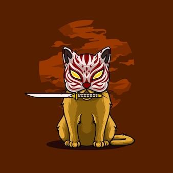 Samurai cat biting sword on moon background