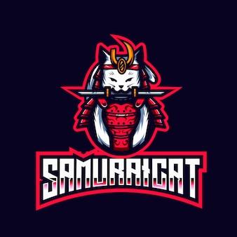 Шаблон логотипа самурайский кот киберспорт