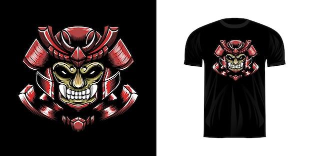 Иллюстрация персонажа самурая для дизайна футболки