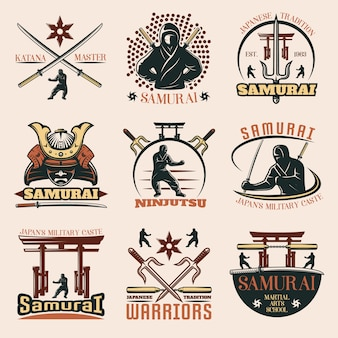 Samurai colorful emblems set
