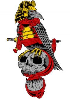 Samurai crow on skull