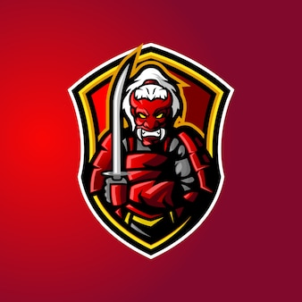 Samurai demon mascot logo
