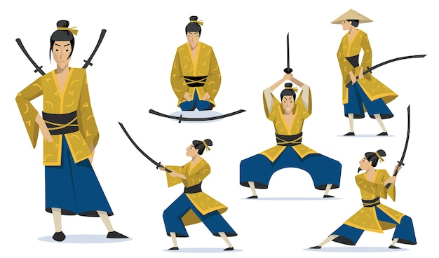 Samurai in different poses set. traditional japanese warriors wearing kimono, walking, meditating, training fighting skills.