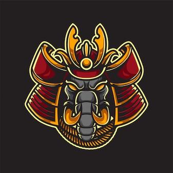 Samurai elephant mascot logo