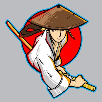 Samurai girl katana japan  logo