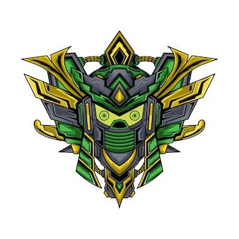 Samurai greenbot illustration