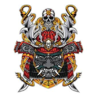 의류 삽화 또는 스티커를위한 사무라이 머리와 2 개의 칼 삽화 디자인 라인 아트