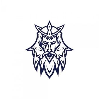 Самурай голова кибер дизайн логотипа с современным стилем концепции иллюстрации