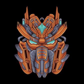 마스코트 로고에 완벽한 사무라이 헤드 로봇 삽화 그림