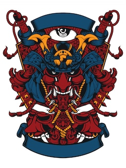 Samurai head and two evil masks artwork design line art for apparel artwork or sticker