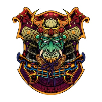 Samurai head with helmet artwork for merch illustration