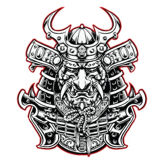 Samurai head with helmet black and white illustration