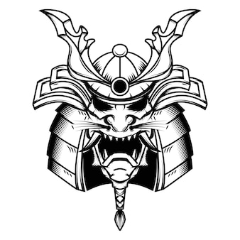 白い背景の上のサムライヘルメットのイラスト。ロゴ、ラベル、エンブレム、記号の要素。図