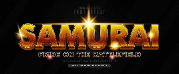Самурай, герои блестящий золотой текстовый эффект, подходящий для названия фильма, плаката и печатной продукции