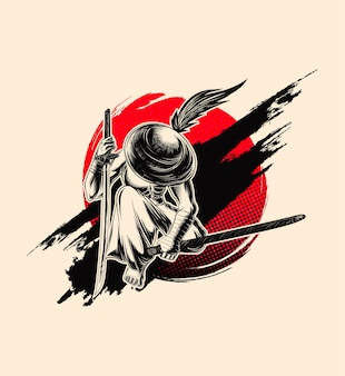 Samurai illustration, swordman with hat.