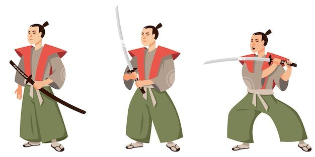 다른 포즈의 사무라이. 만화 스타일의 일본 문자.
