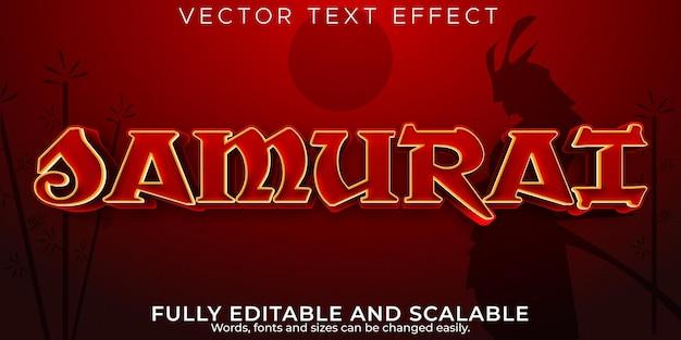 Самурай, япония, текстовый эффект, редактируемый стиль текста воина и меча