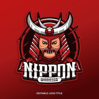 Samurai japanese mascot logo design template