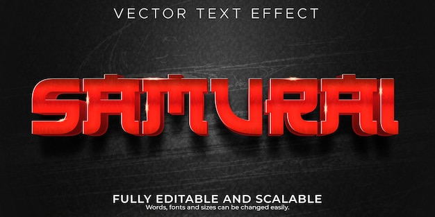 Samurai japanese text effect editable warrior and red text style
