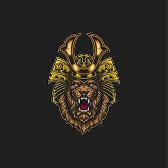 Samurai lion illustration