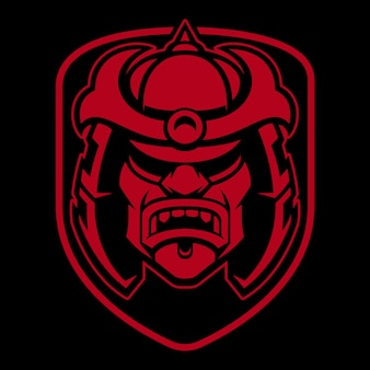 Samurai logo design. badge with japanese warrior. identity of fight club.