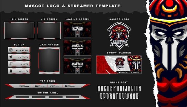 Samurai mascot logo and twitch overlay template