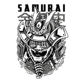 Samurai mask black and white illustration