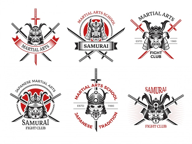 Samurai mask labels. japan angry faces for warrior armor  labels tattoo logo  projects