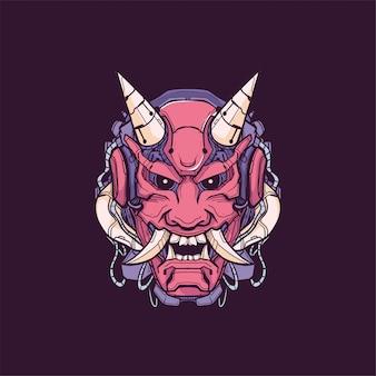Самурай маска робот дизайн футболка иллюстрация сатана кибер панк