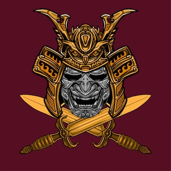 Samurai mask and sword vector
