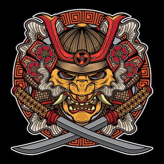 Samurai mask traditional tattoo
