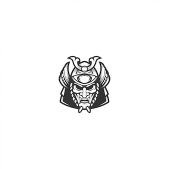 Samurai mask vector logo illustration