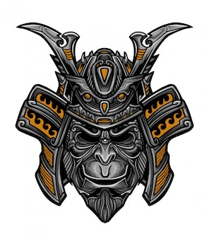 Samurai monkey mask vector
