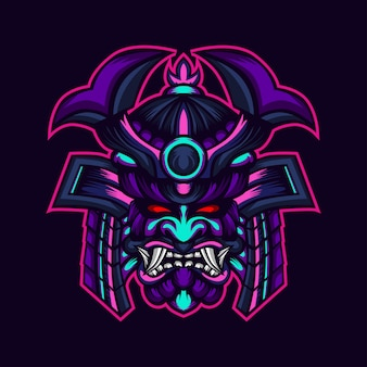 Samurai monster warrior head artwork