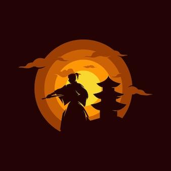 夕日のイラストの武士