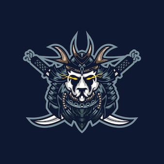 ストリーマーチームのサムライパンダeスポーツゲーミングマスコットロゴテンプレート。