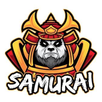 Шаблон логотипа самурай панда киберспорт