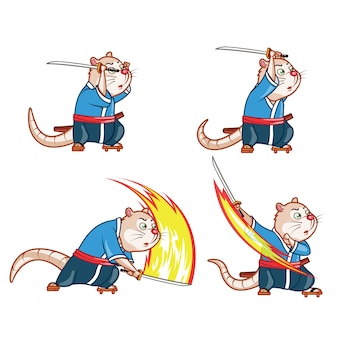 Самурайский крысиный мультфильм game character animation sprite
