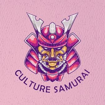 Самурай ретро иллюстрация с текстурой бумаги